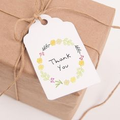 """Printable thank you favor tags modern yellow and green spring flower wreath. Please repin, favorite, or click """"Visit"""" to see affordable wedding printables."""