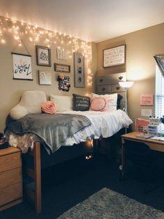 Pink dorm rooms, college dorm rooms, college dorm lights, dorm room b Cozy Dorm Room, Dorm Room Storage, Bed Room, Dorm Room Desk, College Dorm Storage, Dorm Room Walls, Bedroom Ceiling, Bedroom Curtains, Pink Dorm Rooms
