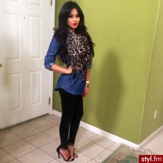 denim top black leggings leopard scarf, love the shoes. I have his whole outfit and have never worn it.