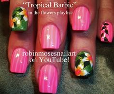 Neon Tropical Barbie Prom Nail Art by robin moses