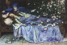 "The secret herstory of maleficent. Henry Meynell Rheam, ""Sleeping Beauty,"" Public Domain image."