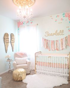Coral, Mint and Gold Girl's Nursery - love the floral and pops of gold!