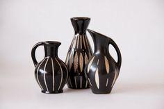 Vintage Design Set of Three Black / Ivory Vases -  Anton Piesche