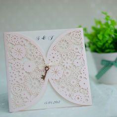 elegant blush pink vintage laser cut wedding invitations