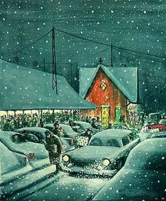 """cover art by Charles Saxon from """"The New Yorker"""" magazine; Christmas Scenes, Christmas Past, Retro Christmas, Vintage Christmas Cards, Vintage Holiday, Christmas Pictures, Christmas Greetings, Winter Christmas, Christmas Wreaths"""
