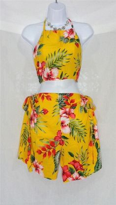 VIN & SUE FASHIONS TAHITI TIE WRAP SARONG BEACH COVER UP YELLOW & PINK FLOWERS #Handmade #CoverUp