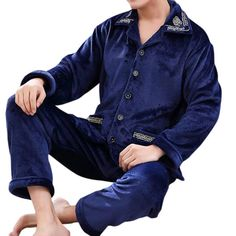 Winter Casual Home Suits Soft Comfortable Flannel Printing Thick Warm Pajamas  Sets for Men at Banggood 1e69da190