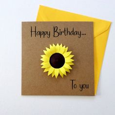 BIRTHDAY Card with Sunflower – Quilled Card – Card for Sister – Sunflower Card – Card for Bestie – Card for Her – Birthday 2020 Happy Birthday Sunflower, Yellow Birthday, Sunflower Cards, Sunflower Gifts, Yellow Sunflower, 50th Birthday Cards, Diy Birthday, Beautiful Birthday Cards, Fiesta Theme Party