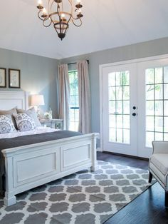 Master bedroom. Love the greys, the airy feel
