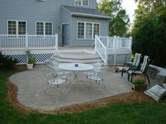 Patio And Composite Deck With Lighting In Steps Foreground Bench - Deck and paver patio designs