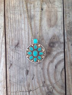 Image of Turquoise Flower pendant necklace