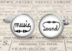 Music sound Cufflinks, Manschettenknöpfe, silber von KISS Knowledge Is So Sexy auf DaWanda.com