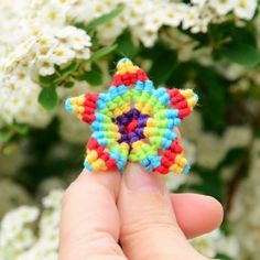 These textile Starflower are created using the macrame technique and can be used as: Pendant, Necklace, Brooch, Earrings, Hairclip...