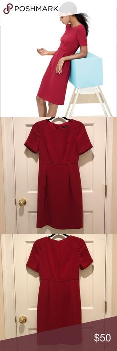 J. Crew career dress in dark red Knee length career dress, gorgeous cut, fully lined by J.Crew in beautiful deep red. Like new/EUC. J. Crew Dresses