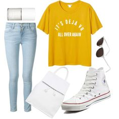 dejavu by moria801 on Polyvore featuring polyvore fashion style Monki Frame Denim Converse Topshop RetroSuperFuture Uslu Airlines