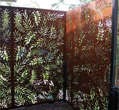 Front Entry Statement - Feature Panels Native Tree designs | Urban Screen Designs Privacy Screen Outdoor, Privacy Panels, Fence Panels, Perforated Metal Panel, Metal Panels, Metal Leaf Wall Art, Metal Art, Corte Plasma, Laser Cut Screens