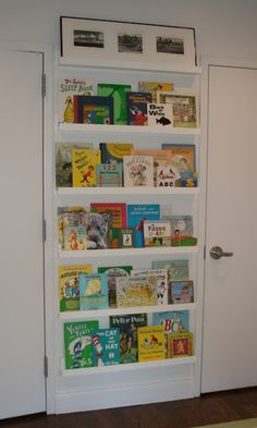 bookshelf made with picture ledges...playroom
