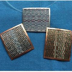 Did you know that the Seattle Weavers' Guild sale includes a handmade jewelry department? Join us to see our many and varied handwoven talents like these pins/necklaces woven with metal by Judith Warren. The 2016 sale begins Thursday, Oct 27 from 5 to 8 pm at 1245 E 10th St on Capitol Hill in Seattle and continues Friday from 10 am to 8 pm and Saturday from 10 am to 5 pm. Parking and entrance are free.