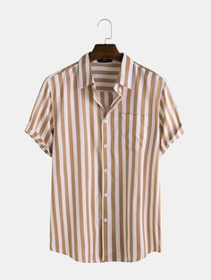 Best Offer of Mens Fashion Stripe Pocket Short Sleeve Casual Shirts If You want to buy for Short Sleeve Casual T-shirts, then Mens Fashion. Outfits Hombre, Shorts With Pockets, Casual T Shirts, Striped Shorts, Stripe Print, Clothes For Sale, Shirt Style, Shirt Designs, Mens Fashion