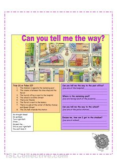 A set of activities on giving directions to places around a city.
