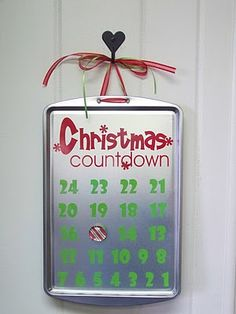 magnetic christmas (or bday or other special day) countdown using a cookie sheet