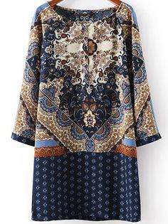 Vestido suelto Floral Vintage manga larga-azul EUR€15.94