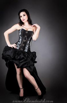 Wish | Custom Size Black and Gray chain Steampunk Burlesque corset with bustled train prom dress