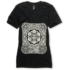 Obey Girls Peace Poster Black V Neck Tee