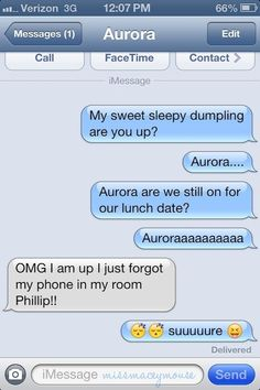 Aurora texting Phillip