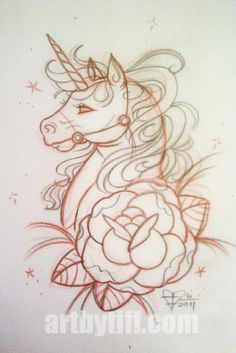 This in watercolour without the rose = perfect unicorn tattoo!! Love it!