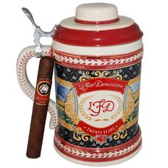 "La Flor Dominicana Commemorative Beer Stein 6"" * 54, 20 Cigars: This beautiful La Flor Dominicana 1994 German Beer Stein contains inside 20 limited edition La Flor Dominicana 1994 Maduro 6 * 54 cigars. Only 3,000 Beer Steins have been produced."