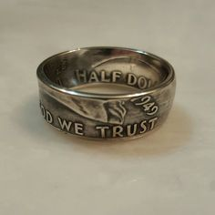 Franklin Coin Ring - Silver Half Dollar by LibertyCoinCreations on Etsy https://www.etsy.com/listing/259843600/franklin-coin-ring-silver-half-dollar