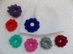 ♥ Unique crochet patterns ♥ by StephanDesign Newborn Beanie, Baby Newborn, Baby Girl Beanies, Unique Crochet, Different Flowers, Crochet Baby Hats, Girl With Hat, Baby Shower Gifts, Crochet Patterns