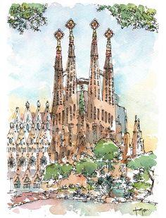 Sagrada Família ORIGINAL WATERCOLOR / Antoni por drawingBarcelona