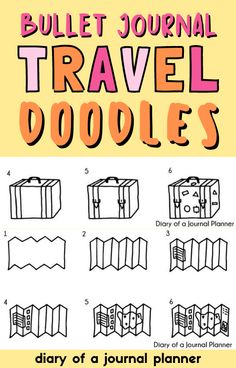 The ultimate list of easy-to-follow step-by-step bullet journal travel doodles! #doodles #howtodraw Bullet Journal Easy, Bullet Journal Travel, Bullet Journal Layout, Travel Journal Pages, Travel Journal Scrapbook, Camera Doodle, Happy Doodles, Travel Doodles, Journal Organization