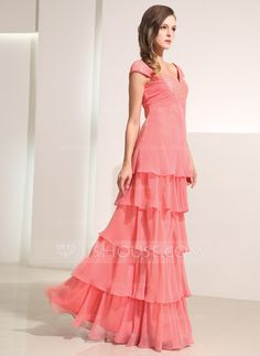 A-Line/Princess Sweetheart Floor-Length Chiffon Holiday Dress With Ruffle Lace (020014197) - JJsHouse
