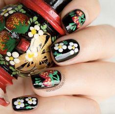 Matryoshka doll inspired flower nails by SoNailicious
