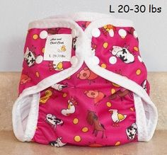 Pink Farm Diaper Cover with Leg Gussets PUL