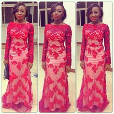 Iya Eko - bellanaijaweddings weddingdigestnaija asoebibella red Nigerian wedding bride dress