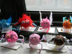 a fan favorite of the kids..grade 2. We created our flying animals with a wad of recycled grocery bags, covered in model magic..add pipe cleaner legs before drying. decorate day 2.