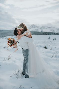 """These couple's had an epic """"I do"""" in front of glorious snow-covered mountaintops 