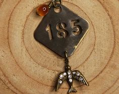 Vintage KEYHOLE Necklace Rhinestone & Religious Charms