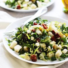 Chopped Brussels Sprout, Kale and Chard Salad with Pears candied pancetta and blue cheese - A healthy salad has never tasted this good!