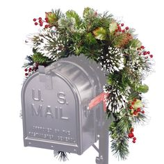 cool  Trimmed with pine cones, red berries and snowflakes Measures 3 ft. diameter Indoor or outdoor use   https://www.silkyflowerstore.com/product/national-tree-3-wintry-pine-collection-mailbox-swag-with-red-berries-cones-snowflakes/