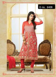 Beautifully designed cotton Straight cut Salwar Suit Peach Colored with Georgette Sleeves and beautiful embroidery work done. Comes along with Matching Cotton Bottom and Chiffon Duppatta.