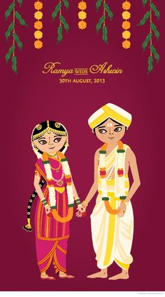 Ramya weds Ashwin by Radha Ramachandran, via Behance creative wedding card