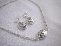 Puffed Silver Leaf Metal Bead Jewelry Set.