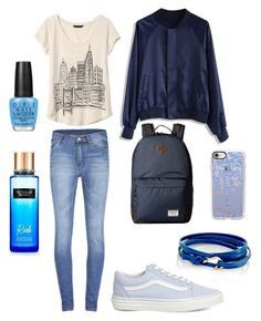 """""""Blue🔷"""" by laurengmoore on Polyvore featuring Burton, MIANSAI, Cheap Monday, Chicwish, Banana Republic, Vans, Casetify and OPI"""