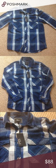 Rails Women's Shirt - Medium (New- $138 value) Rails Women's Blue Plaid Shirt - Medium (New w/ tag) Chic!  Super stylish- Can be worn with leggings or jeans! Love!!! Rails Tops Button Down Shirts