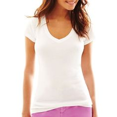 jcp™ V-Neck Short-Sleeve Tee - jcpenney $8 Can't beat it for layering in the spring